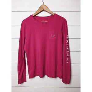 Vineyard Vines | Pink Whale Logo Long Sleeve Tee